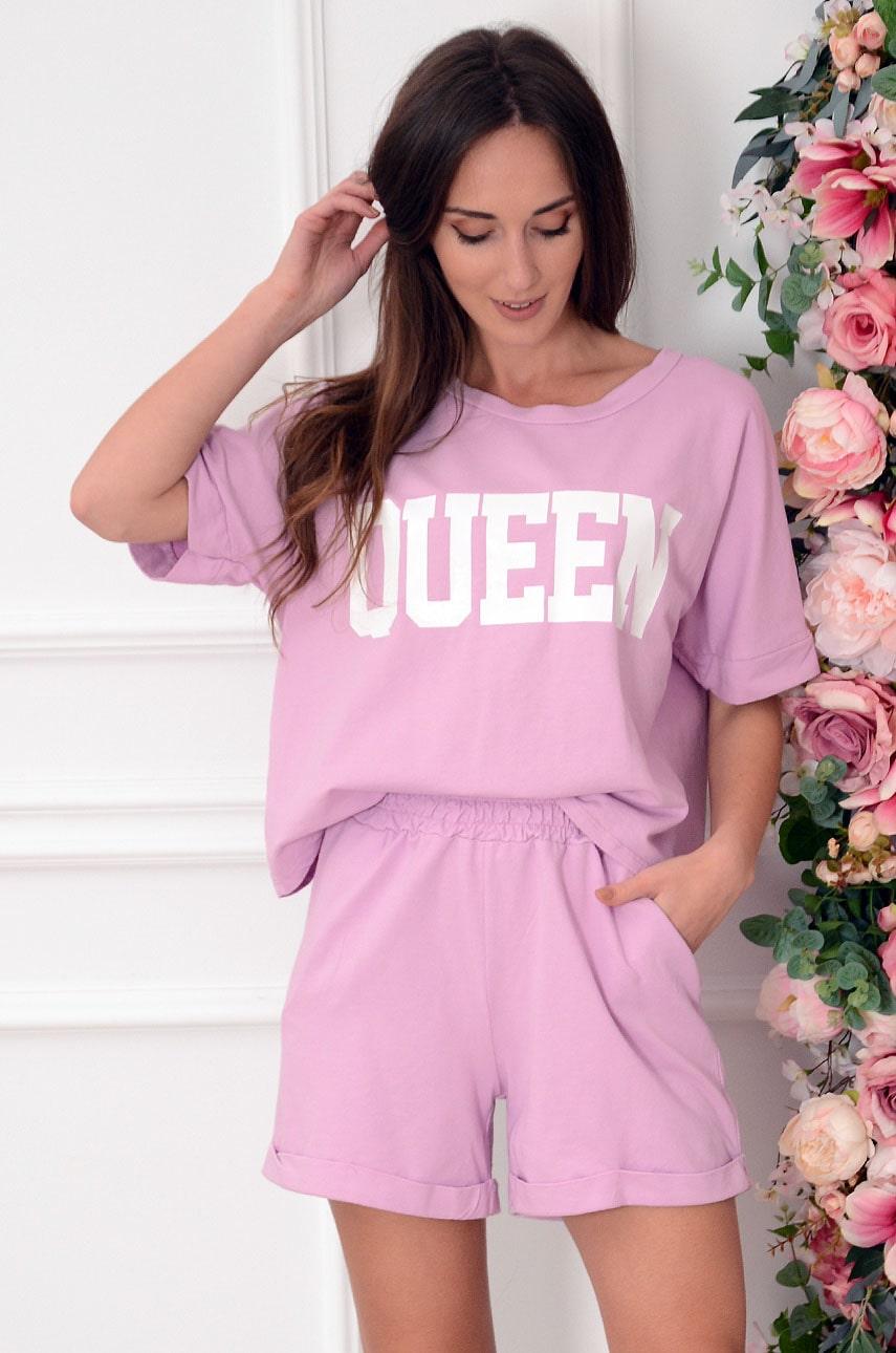 Komplet dresowy bluzka+szorty liliowy róż Queens Rozmiar: UNI