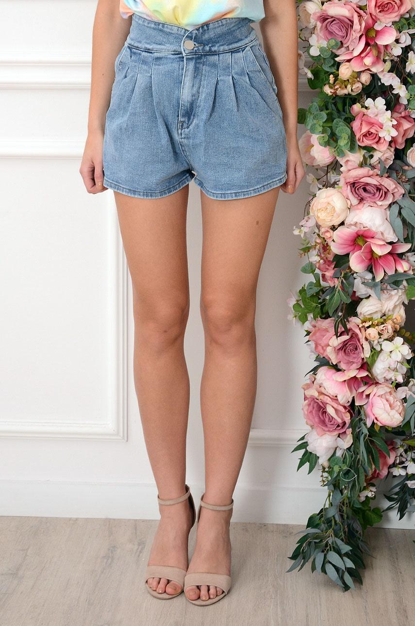 Szorty jeansowe wysoki stan z zakładkami Nino Rozmiar: XS