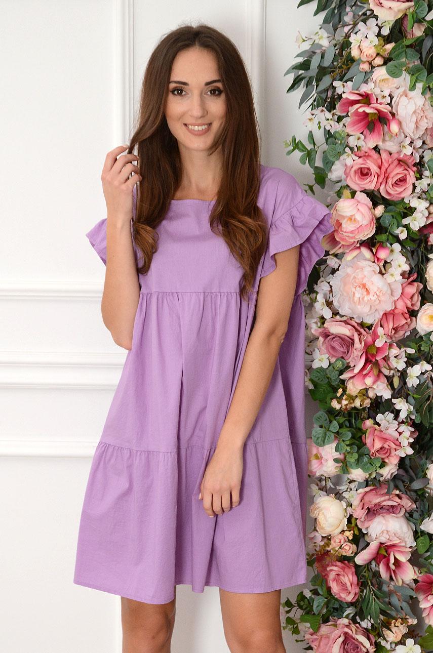 Sukienka oversize z falban liliowa Marika Rozmiar: UNI