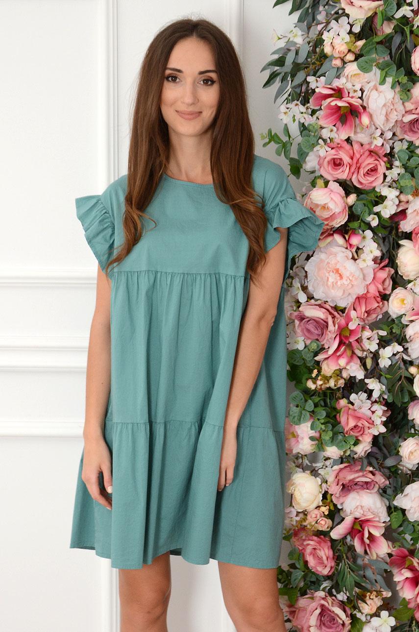 Sukienka oversize z falban zieleń Marika Rozmiar: UNI
