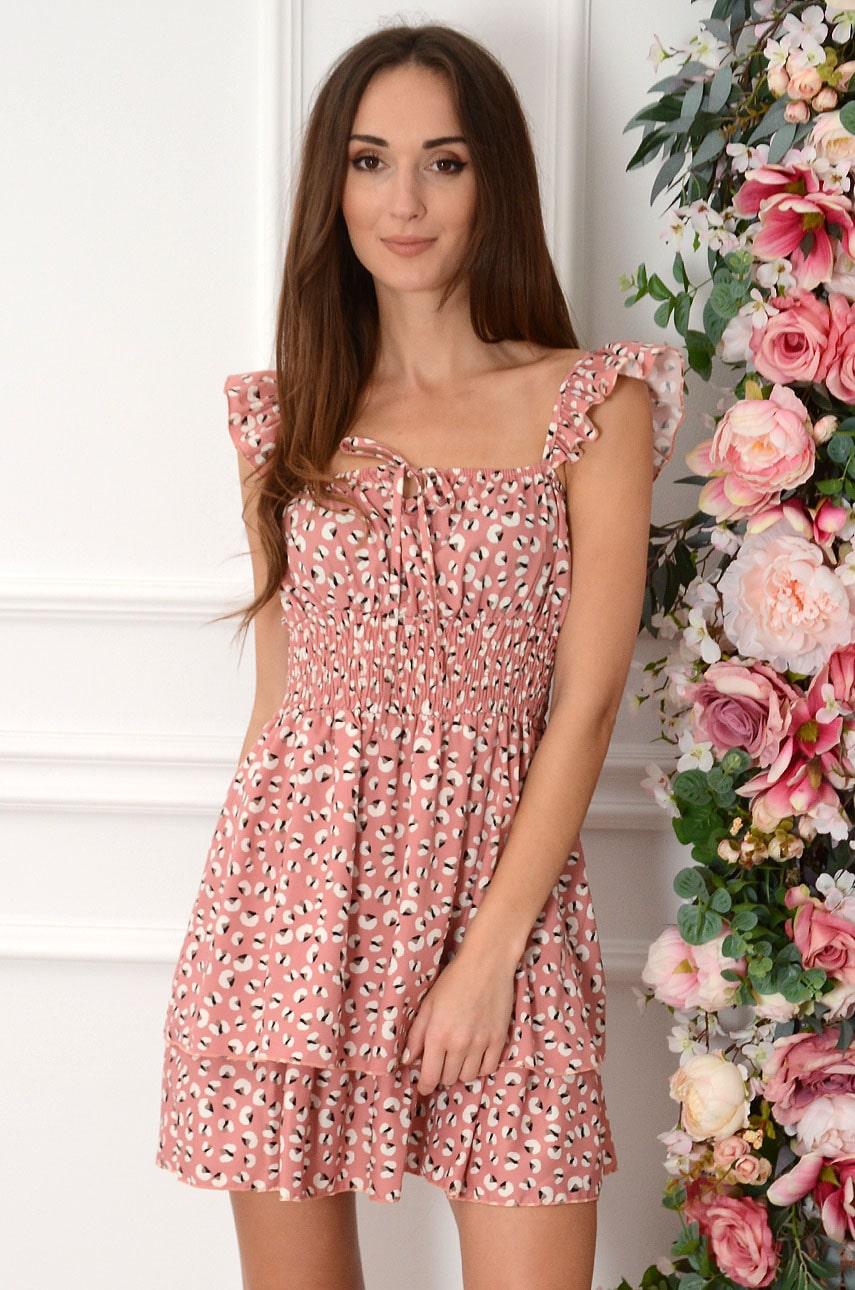 Sukienka z falbankami w plamki retro róż Brigit Rozmiar: UNI