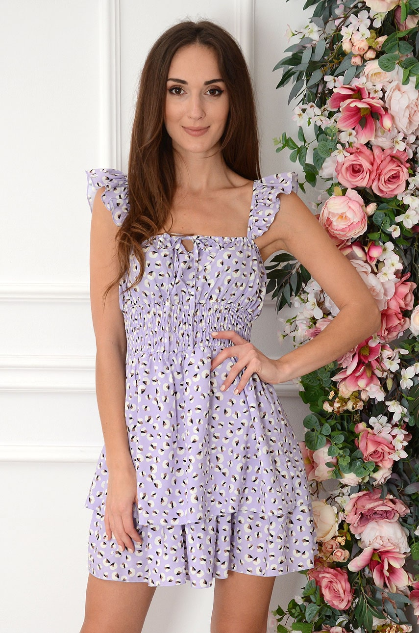Sukienka z falbankami w plamki liliowa Brigit Rozmiar: UNI