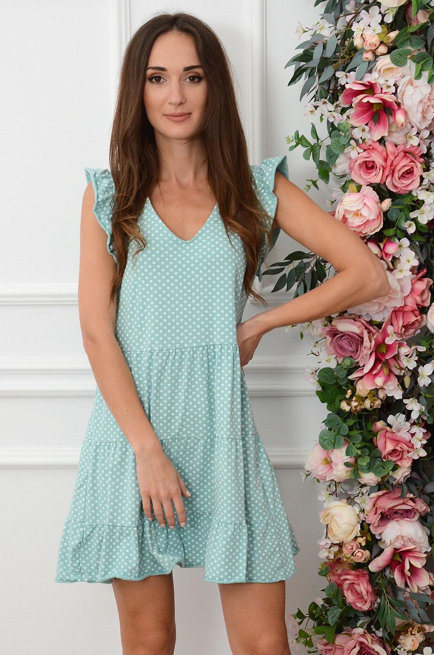 Sukienka dzianinowa z falban w grochy miętowa Tazjana Rozmiar: UNI