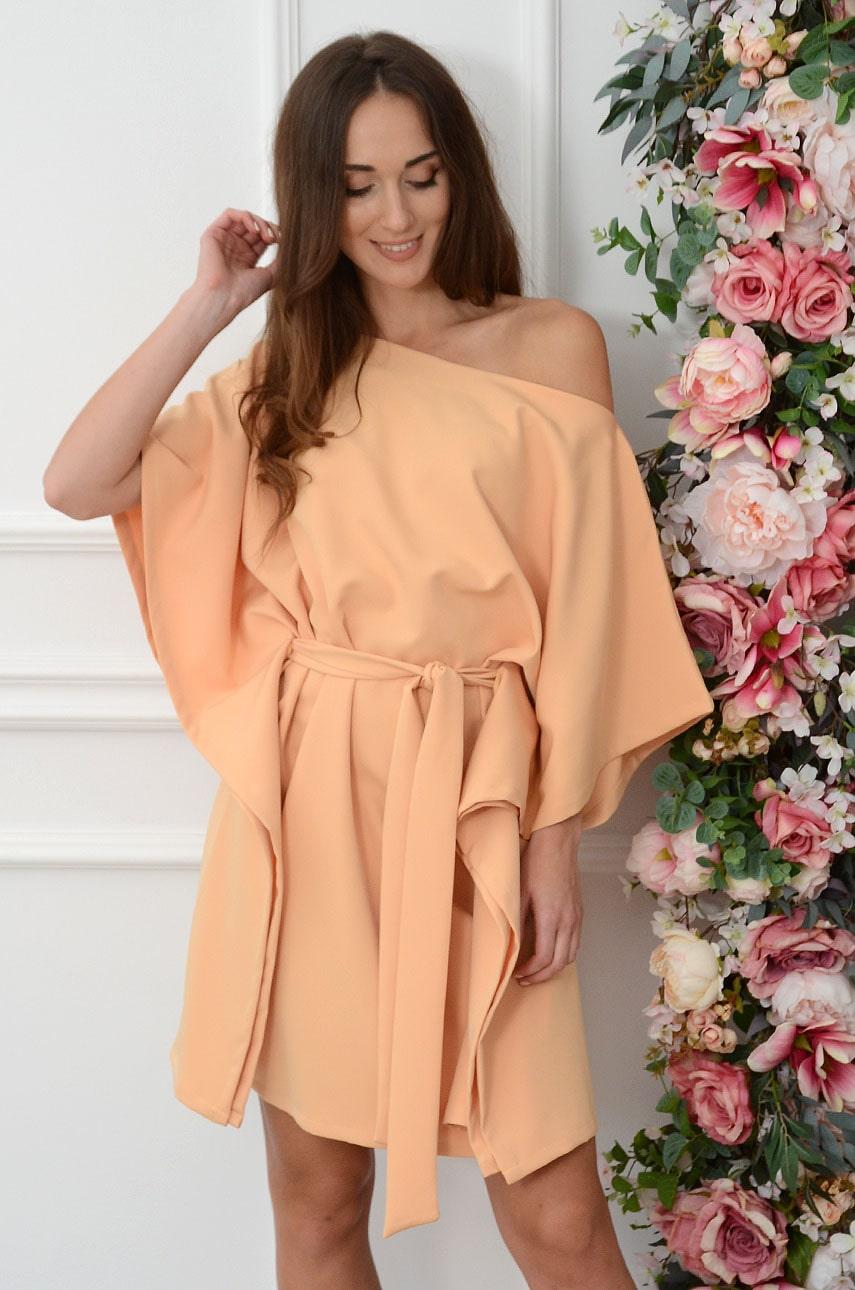 Sukienka oversize z paskiem miodowa Flavia Rozmiar: UNI
