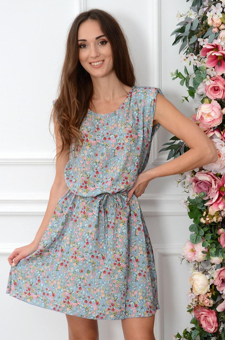 Sukienka w łączkę z wiązaniem niebieska Tanya Rozmiar: UNI