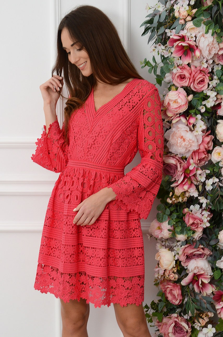 Elegancka sukienka koronkowa malinowa Ines Rozmiar: S