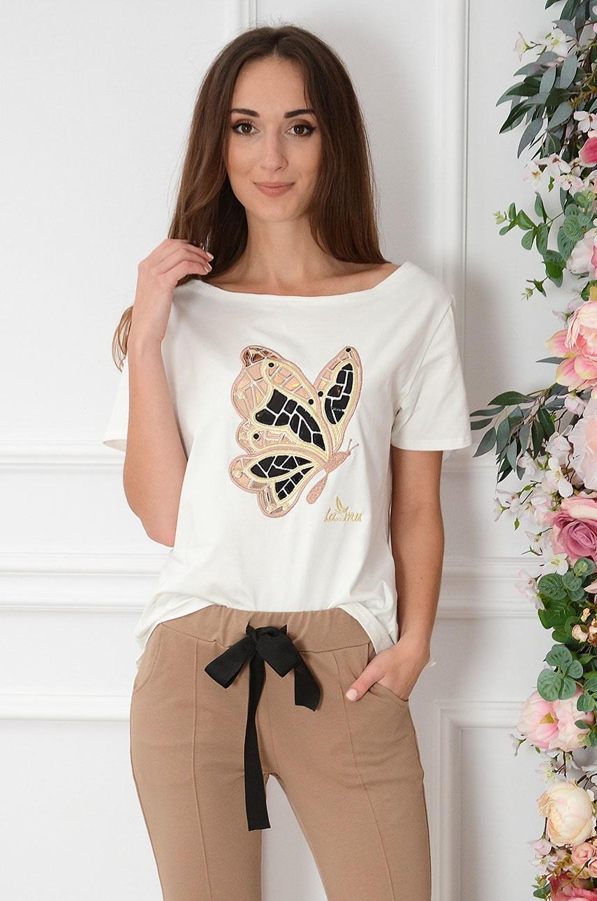 Bluzka łódka błyszczący motyl kremowa Girafo Rozmiar: UNI