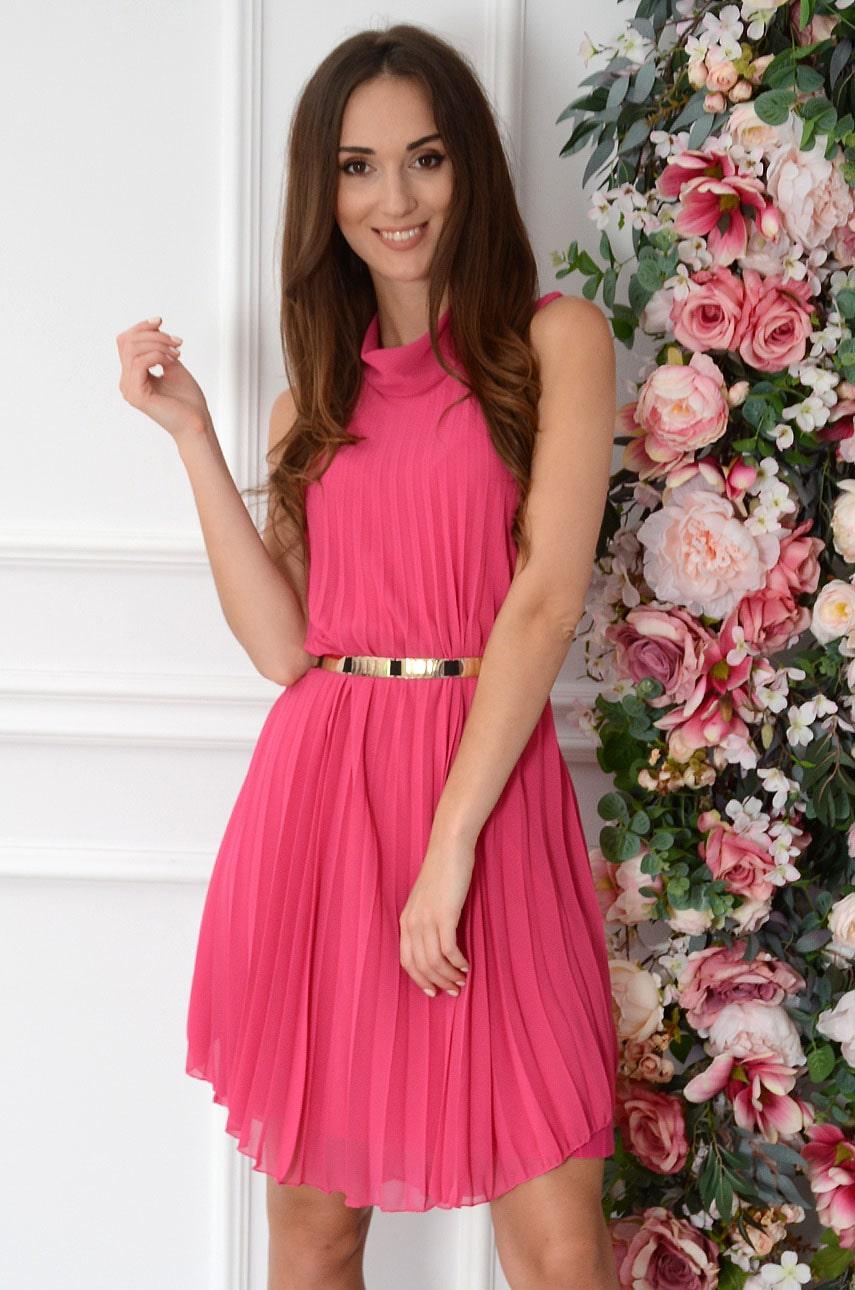 Sukienka plisowana oversize ze stójką fuksja Aurea Rozmiar: UNI