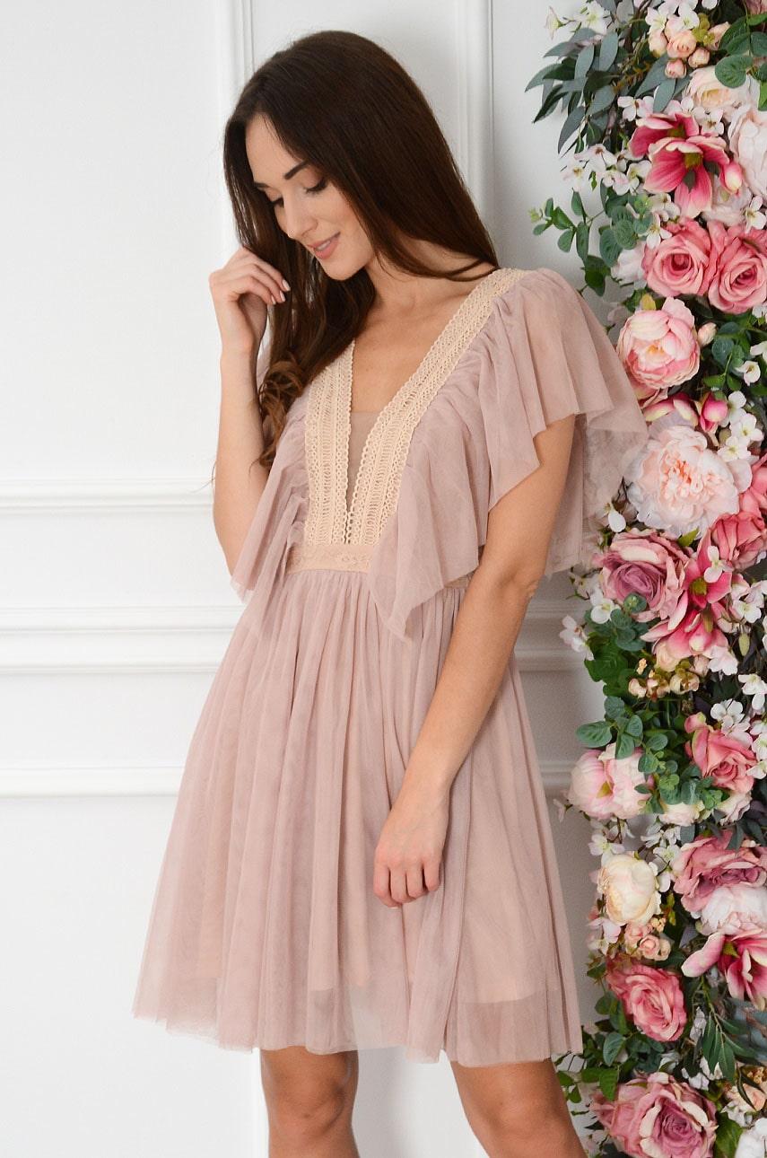 Sukienka tiulowa z falbaną i koronką brudny róż Aurora Rozmiar: M