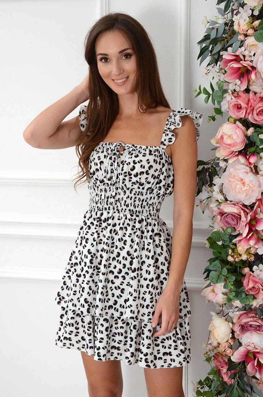 Sukienka z falbankami w plamki biała Brigit Rozmiar: UNI