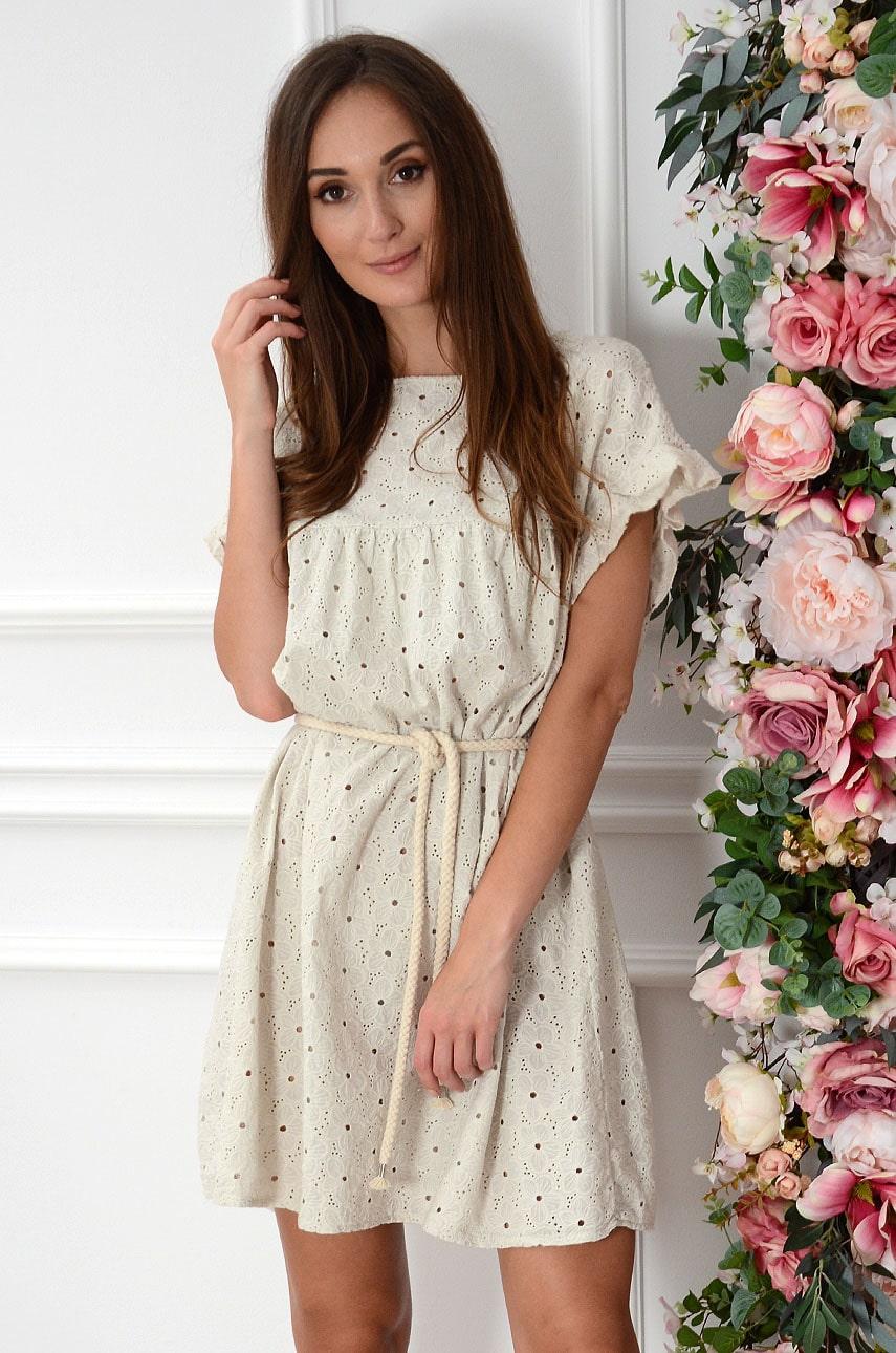 Sukienka oversize boho haftowana beż Sharon Rozmiar: UNI