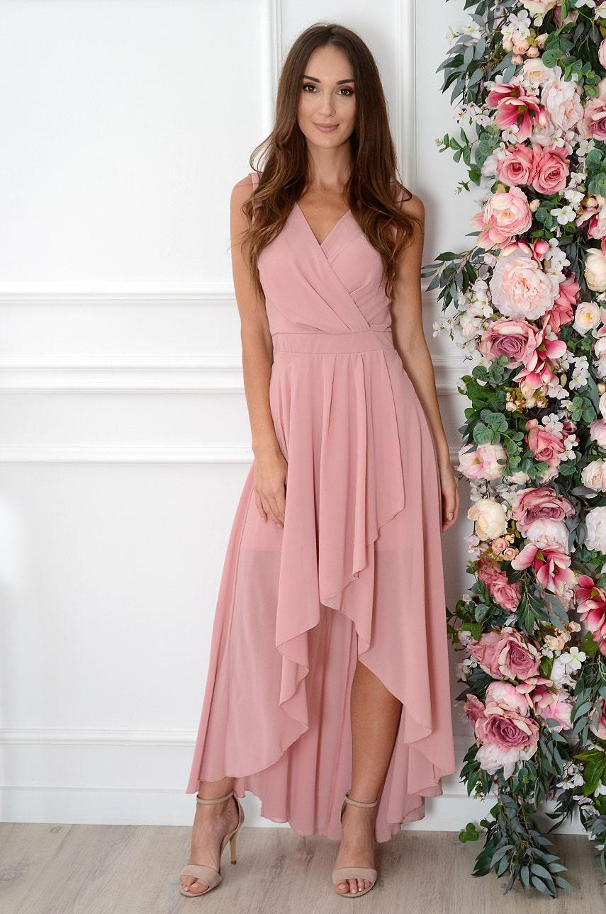 Sukienka maxi szyfonowa asymetryczna brudny róż Ottavia Rozmiar: XS