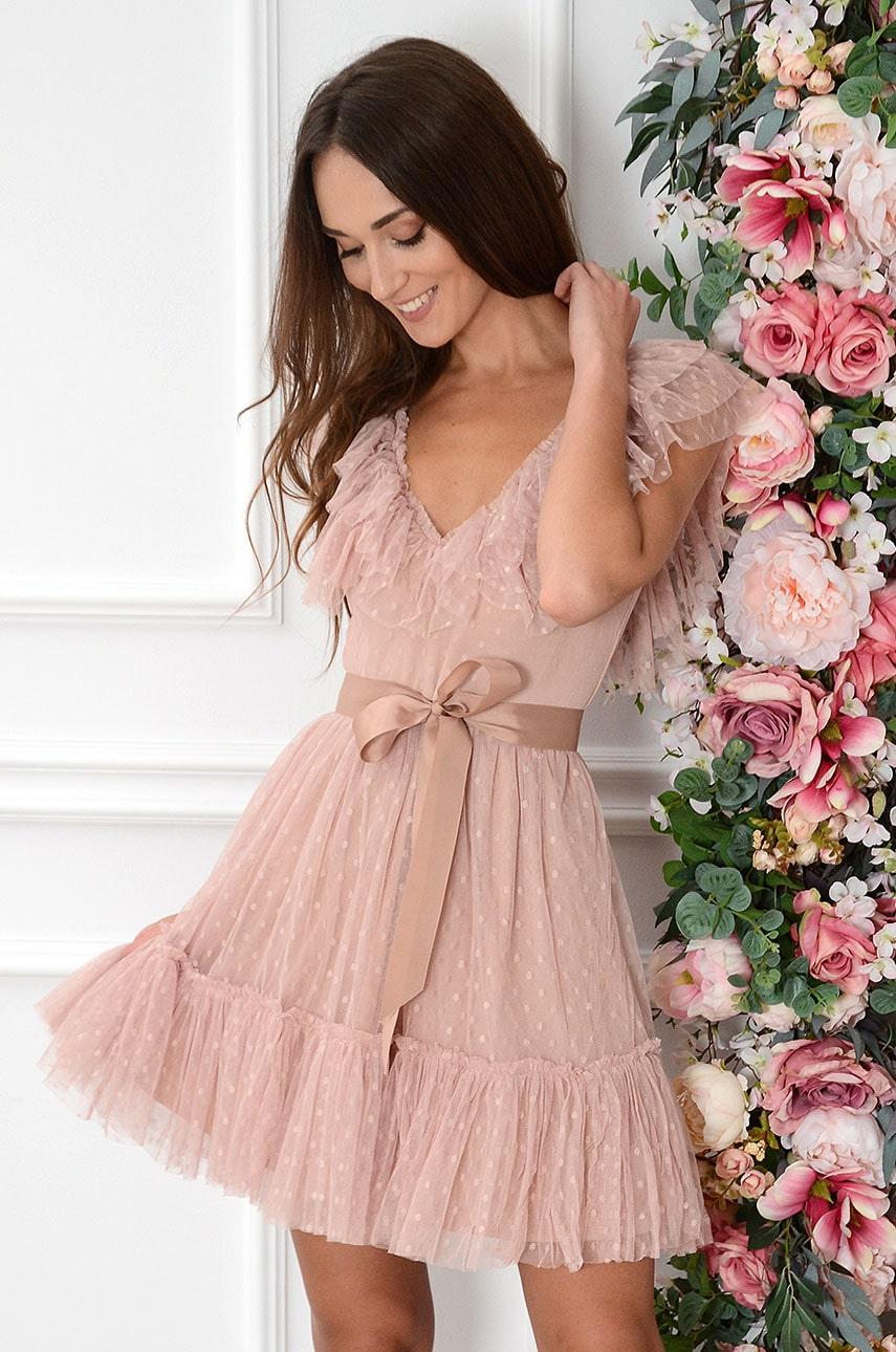Sukienka mini tiulowa z falbankami dekolt V brudny róż Victoria Rozmiar: M