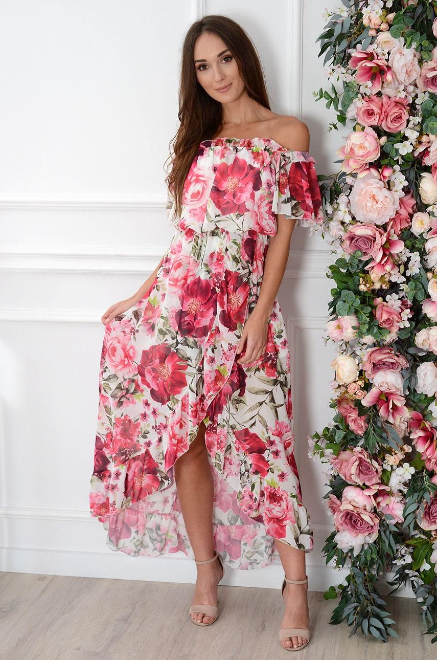 Sukienka maxi hiszpanka szyfonowa w różowe kwiaty biała Alzona Rozmiar: UNI