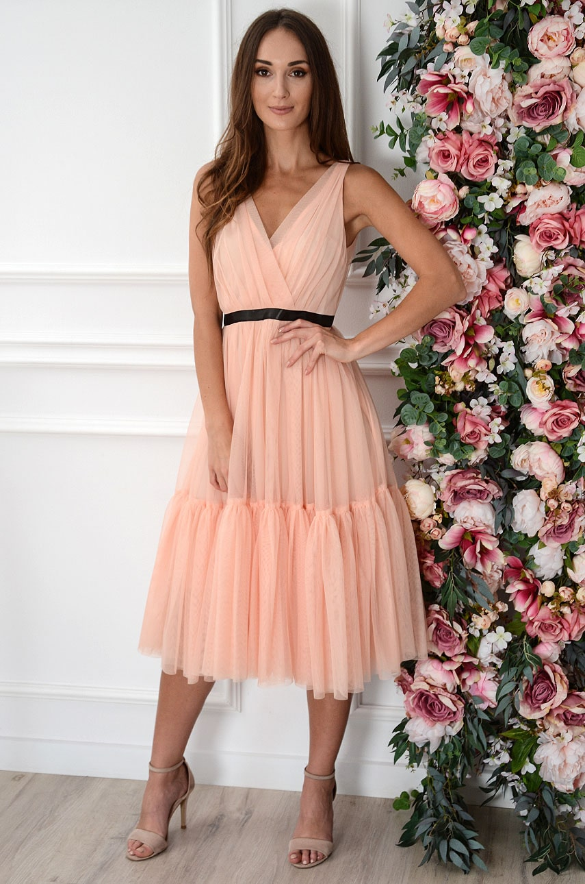 Sukienka midi rozkloszowana z tiulu morela Margaret Rozmiar: M