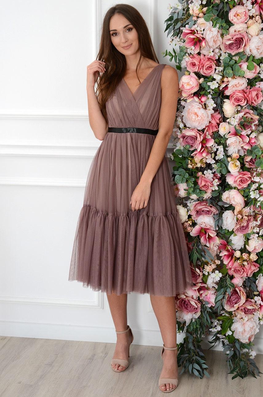 Sukienka midi rozkloszowana z tiulu cappuccino Margaret Rozmiar: XS