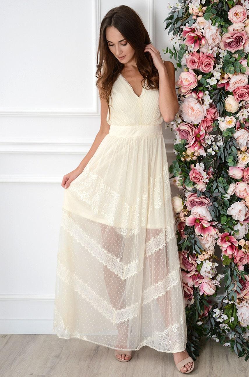 Sukienka maxi plisowana z tiulu jasny beż Kaja Rozmiar: M