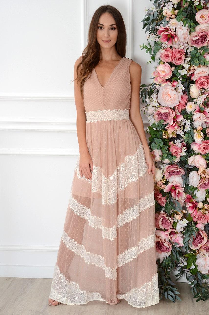 Sukienka maxi plisowana z tiulu brudny róż-beż Kaja Rozmiar: L