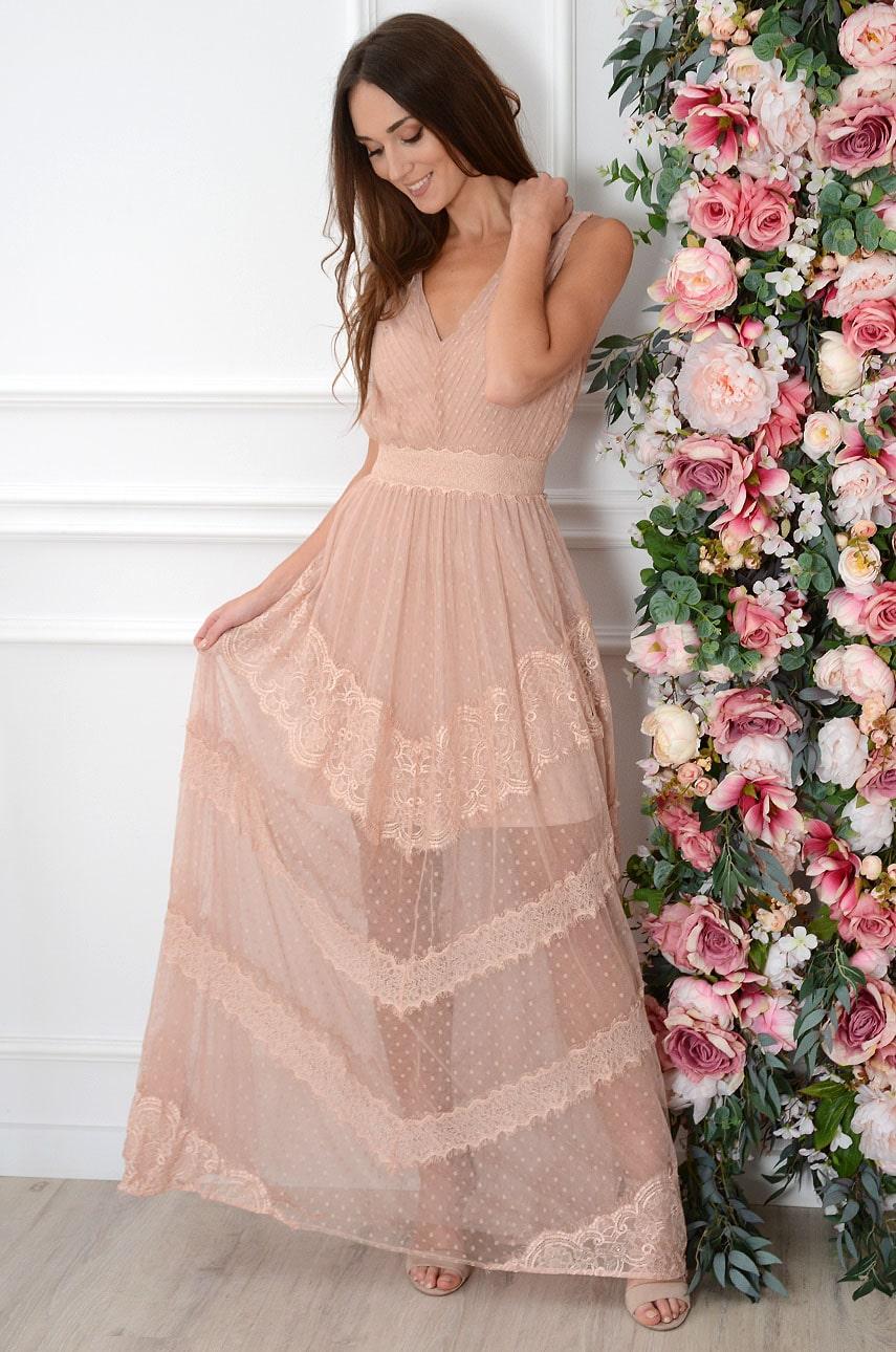 Sukienka maxi plisowana z tiulu brudny róż Kaja Rozmiar: S