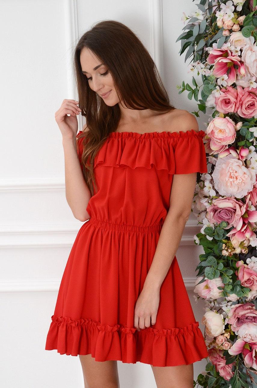 Sukienka hiszpanka z falbankami czerwona Pirrko Rozmiar: UNI