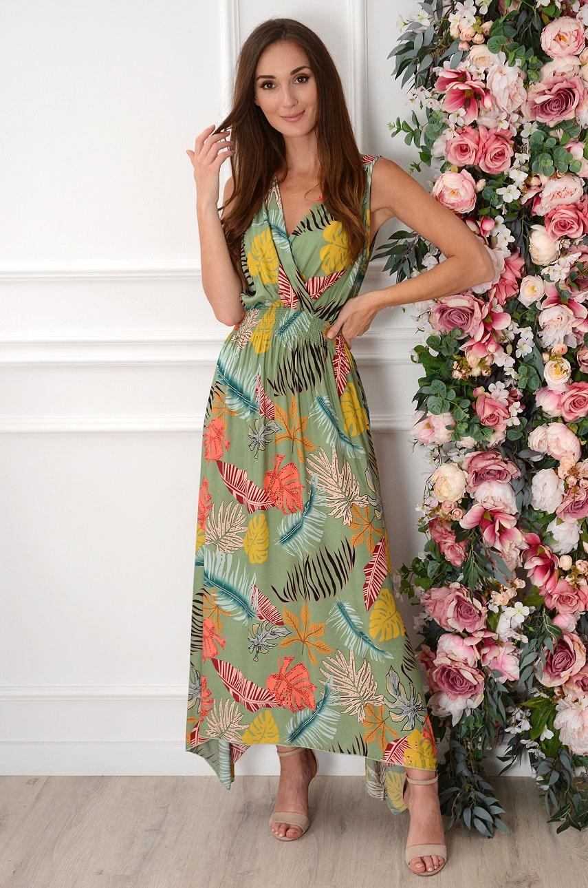Sukienka maxi w kolorowe liście oliwka Erna Rozmiar: XL/2XL