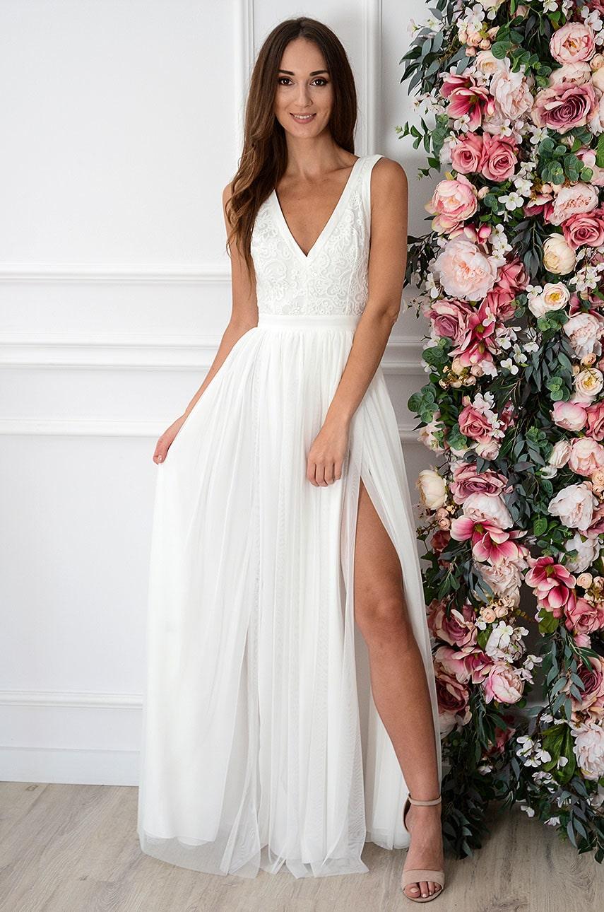 Sukienka maxi z tiulu wyszywana góra kremowa Lydia Rozmiar: M