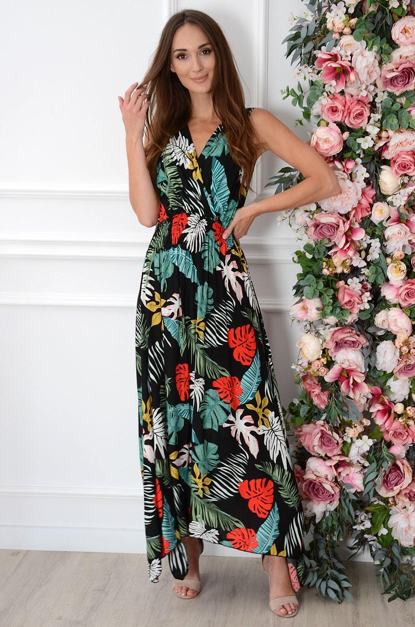 Sukienka maxi w kolorowe liście czarna Erna Rozmiar: XL/2XL