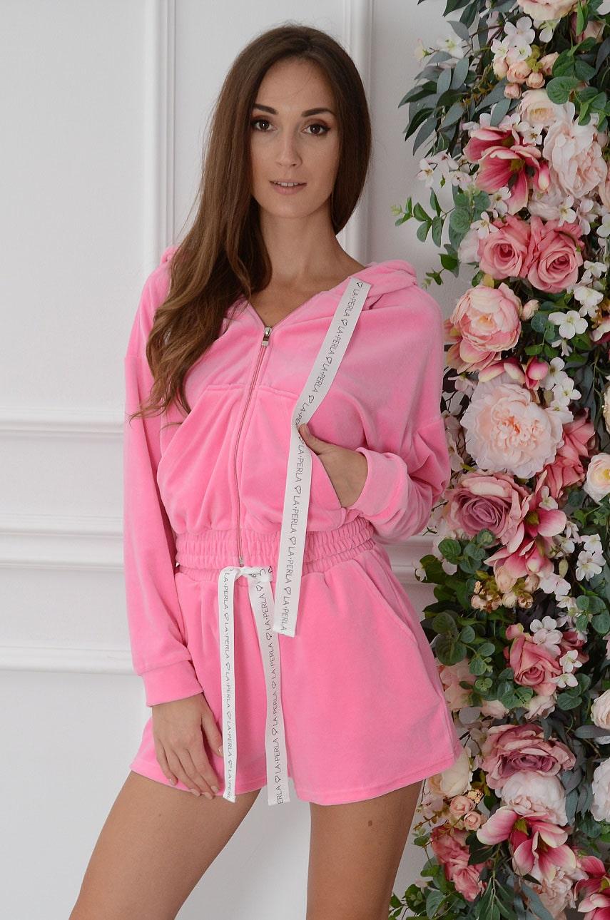 Komplet dresowy z weluru bluza+szorty neon róż Marie Rozmiar: S