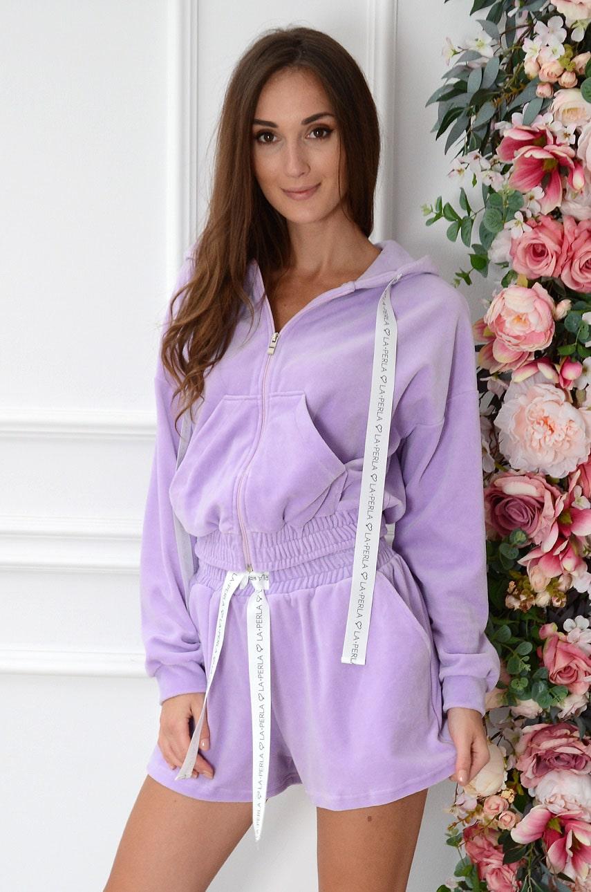 Komplet dresowy z weluru bluza+szorty liliowy Marie Rozmiar: M