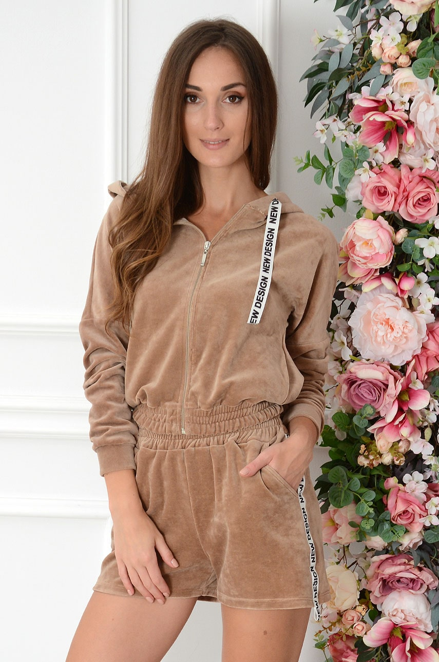 Komplet dresowy z weluru bluza+szorty kamel Zozo Rozmiar: S