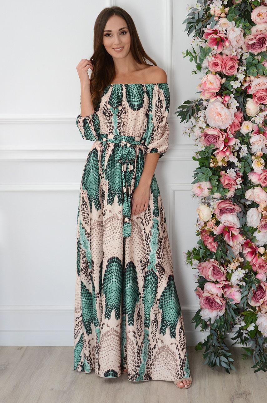 Sukienka maxi wężowa zielono-beżowa California Rozmiar: S