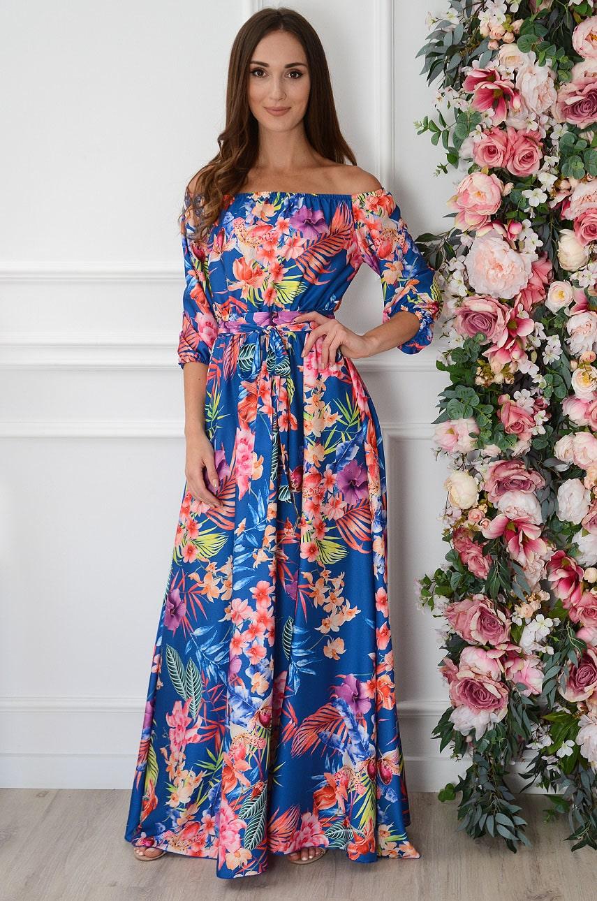 Sukienka maxi w tropikalny print kobalt California Rozmiar: M