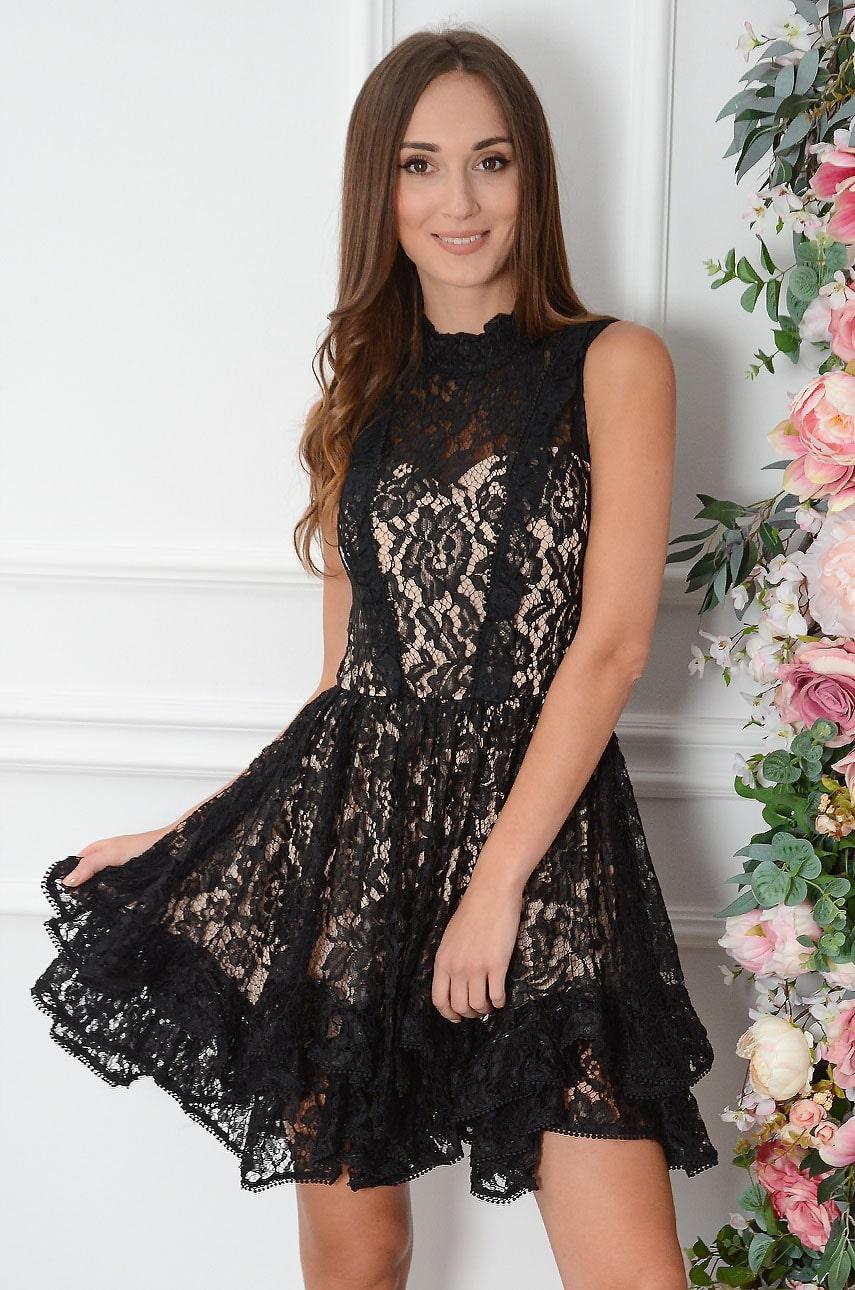 Sukienka koronkowa z falbankami czarno-beżowa Isma Rozmiar: S