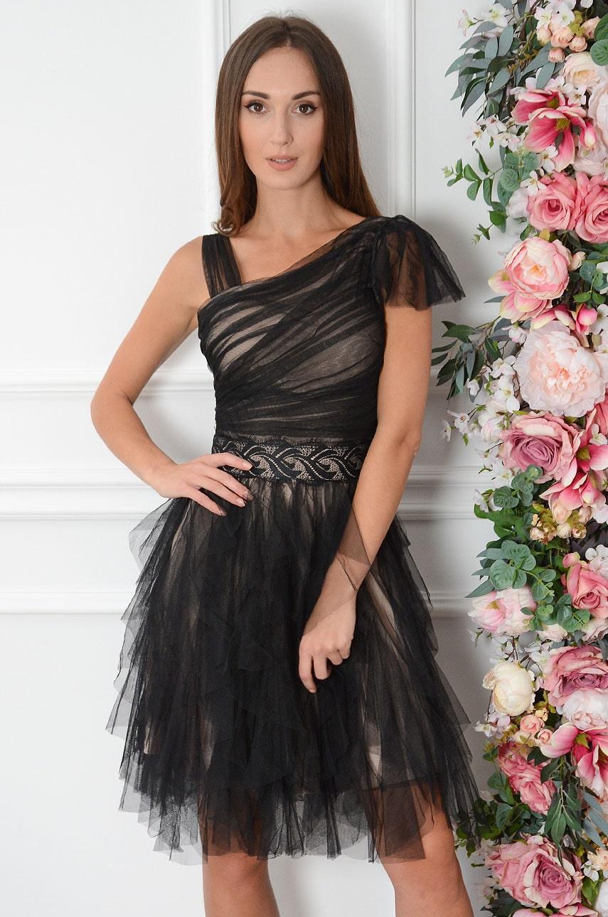 Sukienka z tiulowych falban z marszczeniem i koronką czarno-beżowa Tully Rozmiar: S
