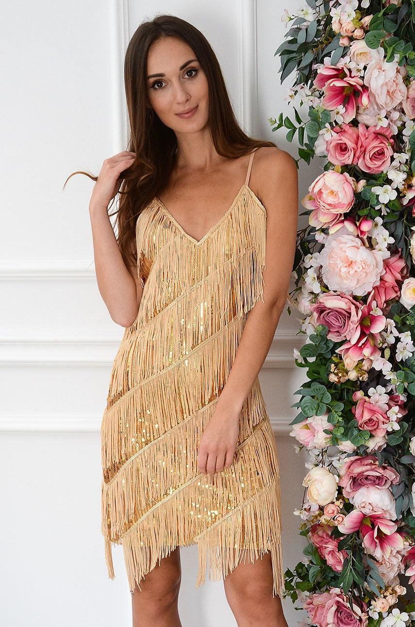 Sukienka cekinowa z frędzlami ciemno złota Shine Rozmiar: UNI
