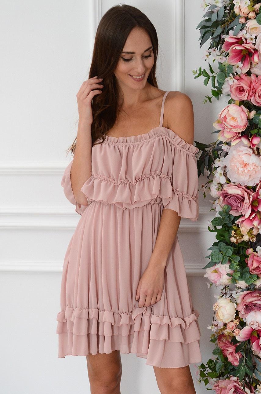 Sukienka szyfonowa hiszpanka pudrowy róż Celja Rozmiar: UNI