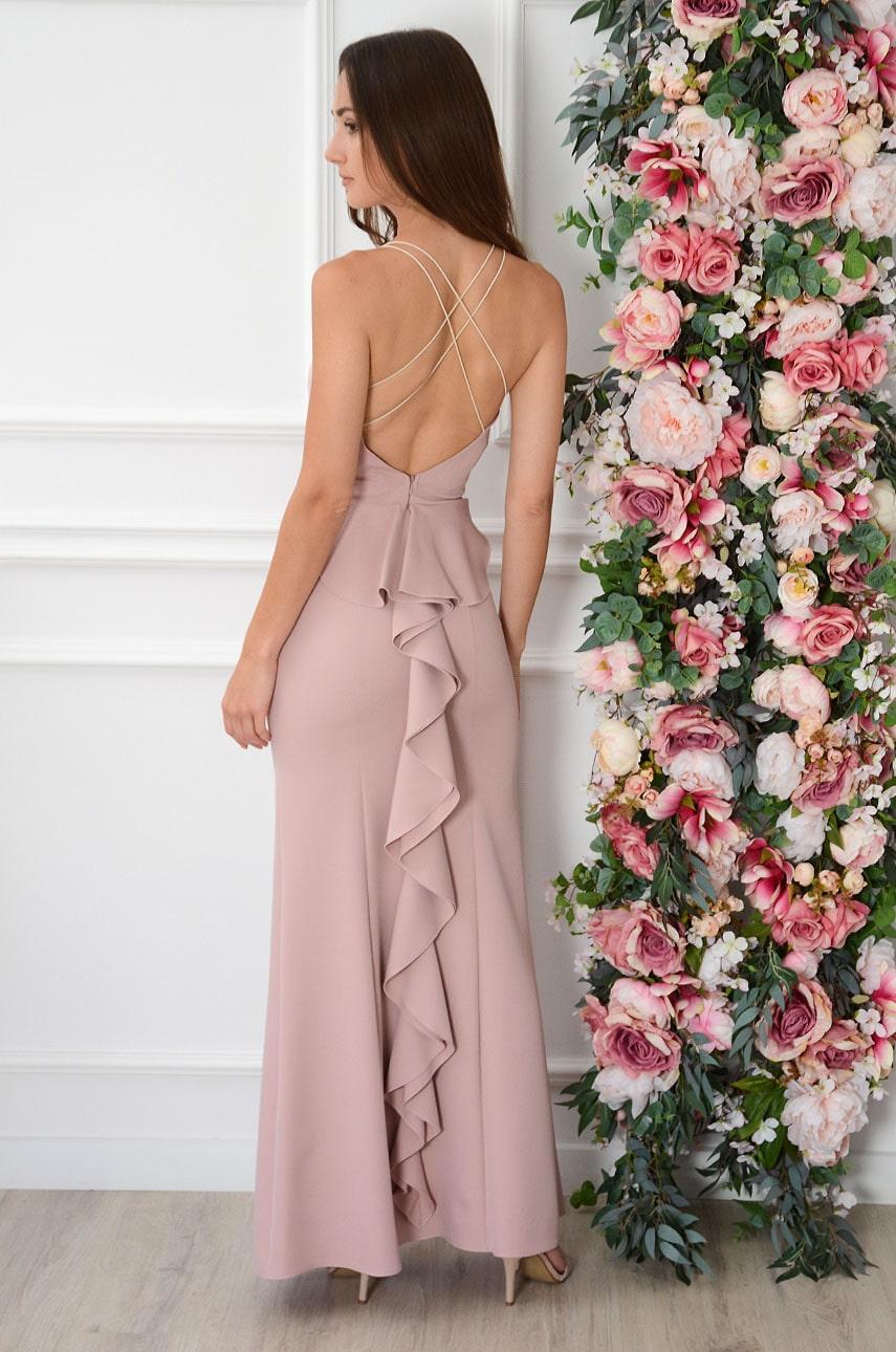 Sukienka maxi z ozdobną falbaną brudny róż Iliana Rozmiar: L