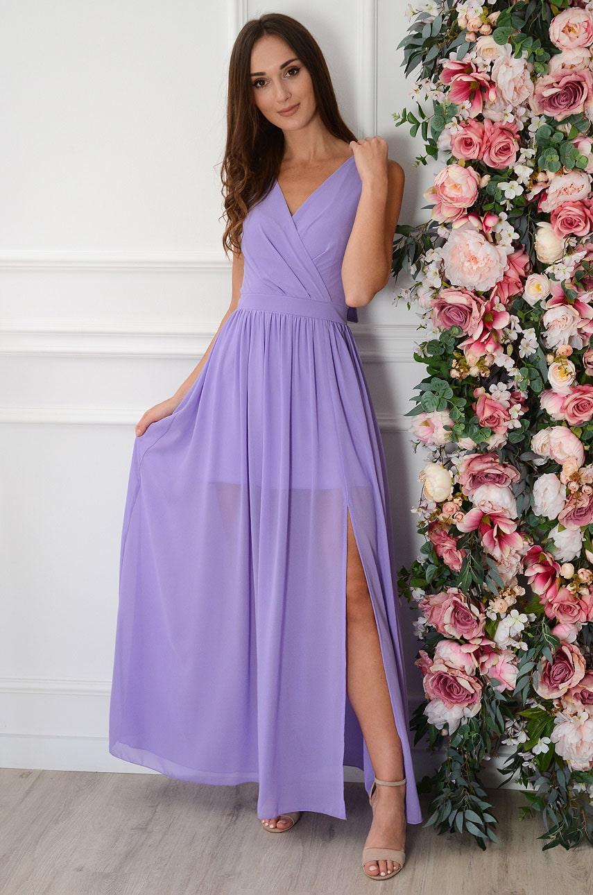 Sukienka maxi szyfonowa lawendowa Lukrecja Rozmiar: S