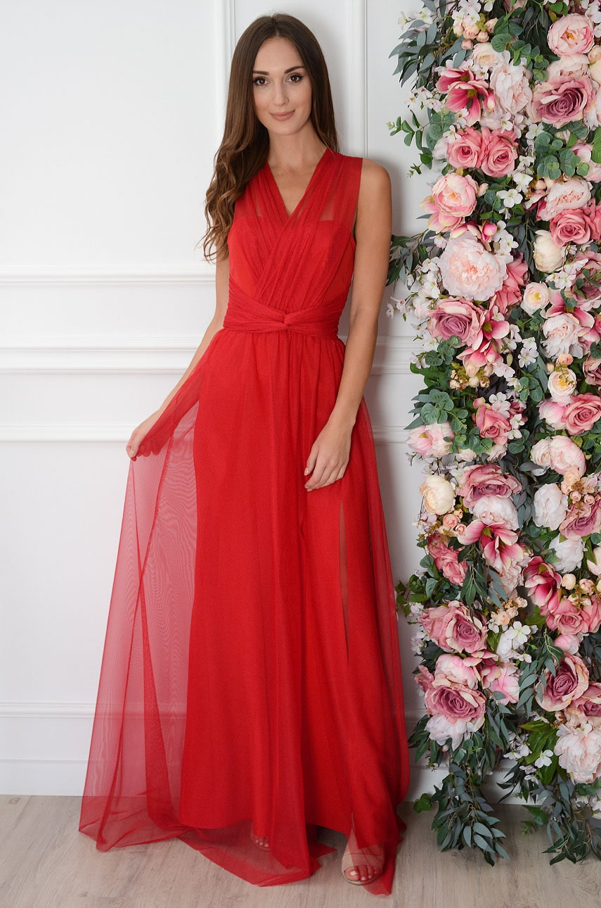 Sukienka maxi z tiulu z wiązaniem czerwona Angelica Rozmiar: L
