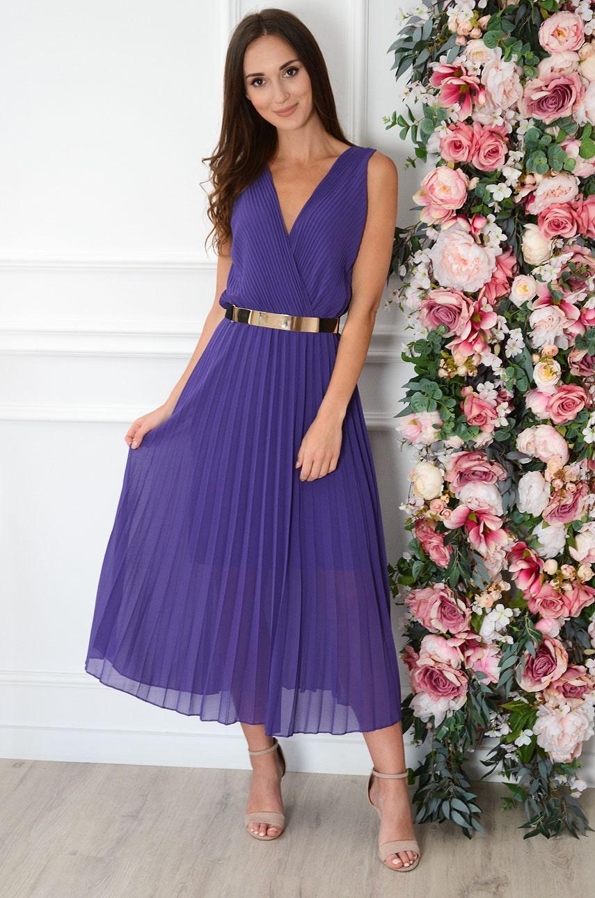 Sukienka maxi plisowana kopertowy dekolt fiolet Aysel Rozmiar: UNI