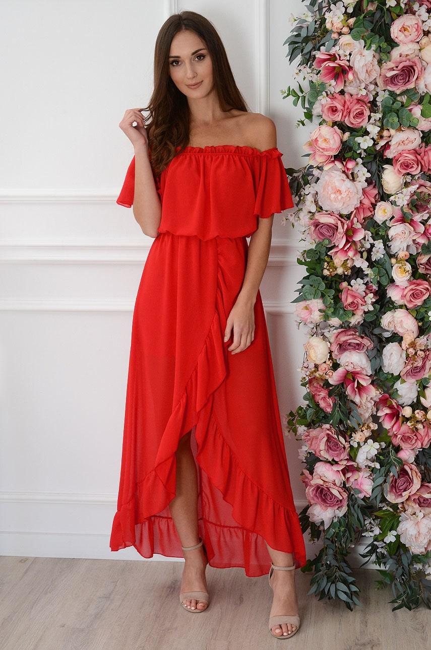 Sukienka maxi hiszpanka szyfonowa czerwona Alzona Rozmiar: UNI