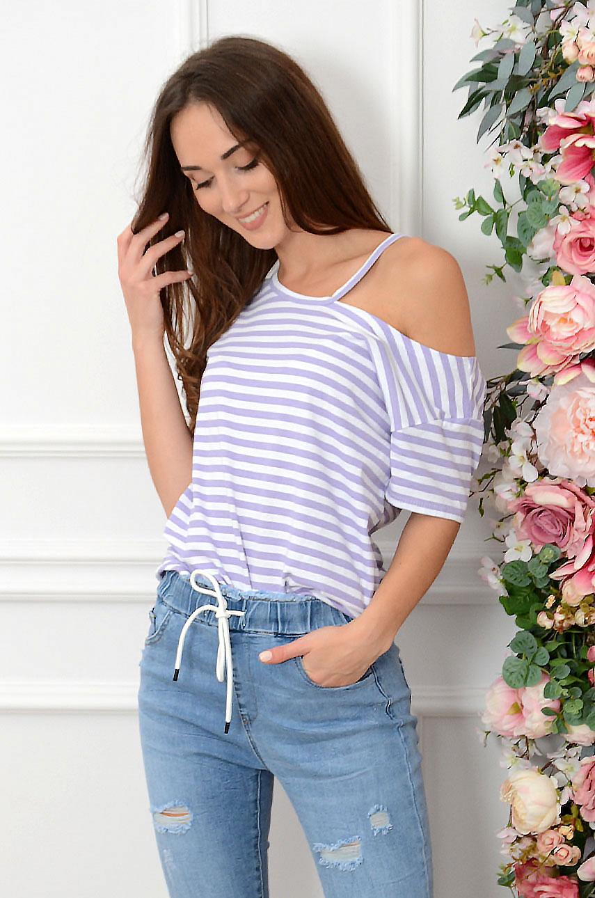 Bluzka T-shirt z wycięciem w paski biało-liliowy Stella Rozmiar: UNI