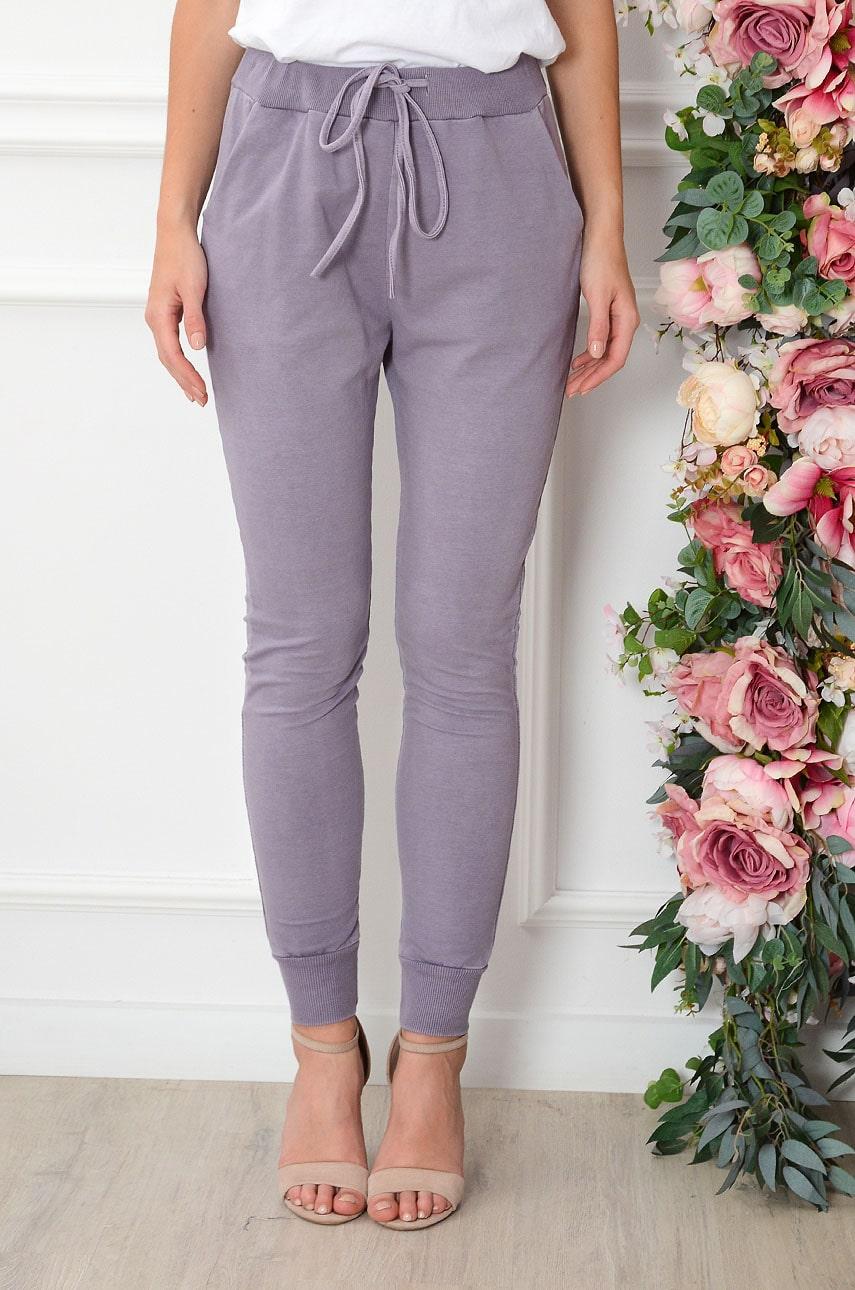 Spodnie dresowe ze ściągaczami fioletowe Fiord Rozmiar: UNI