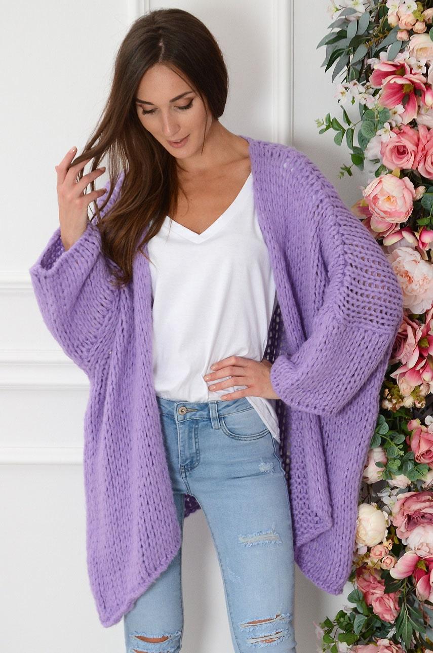 Sweter kardigan grubo pleciony fiolet Medelin Rozmiar: UNI