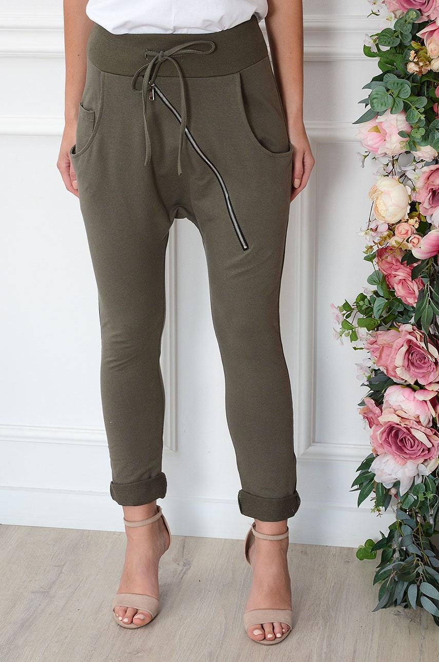 Spodnie dresowe baggy skośny zip khaki Kansas Rozmiar: UNI