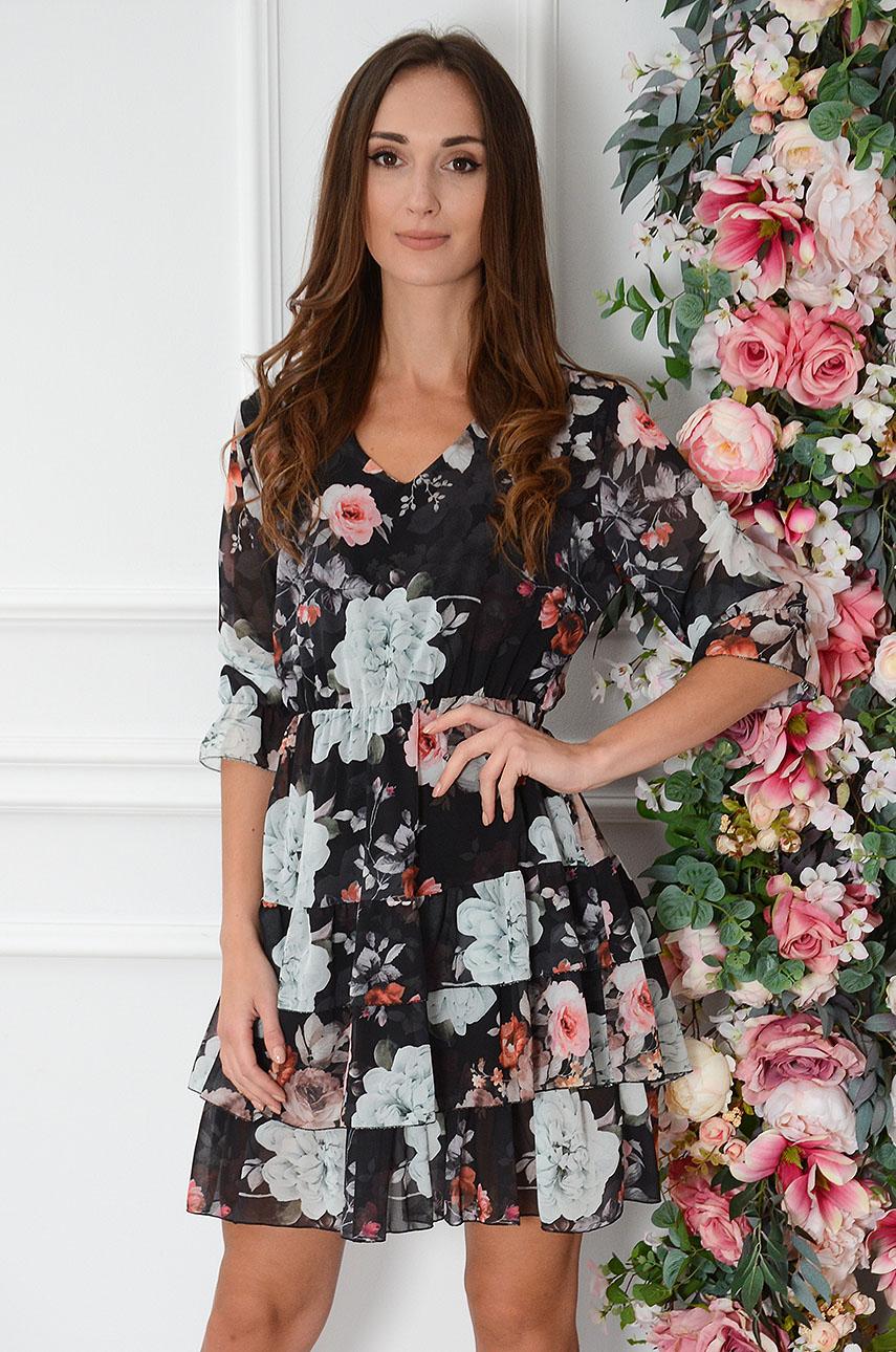 Sukienka szyfonowa z falbankami w róże czarna Ambra Rozmiar: UNI