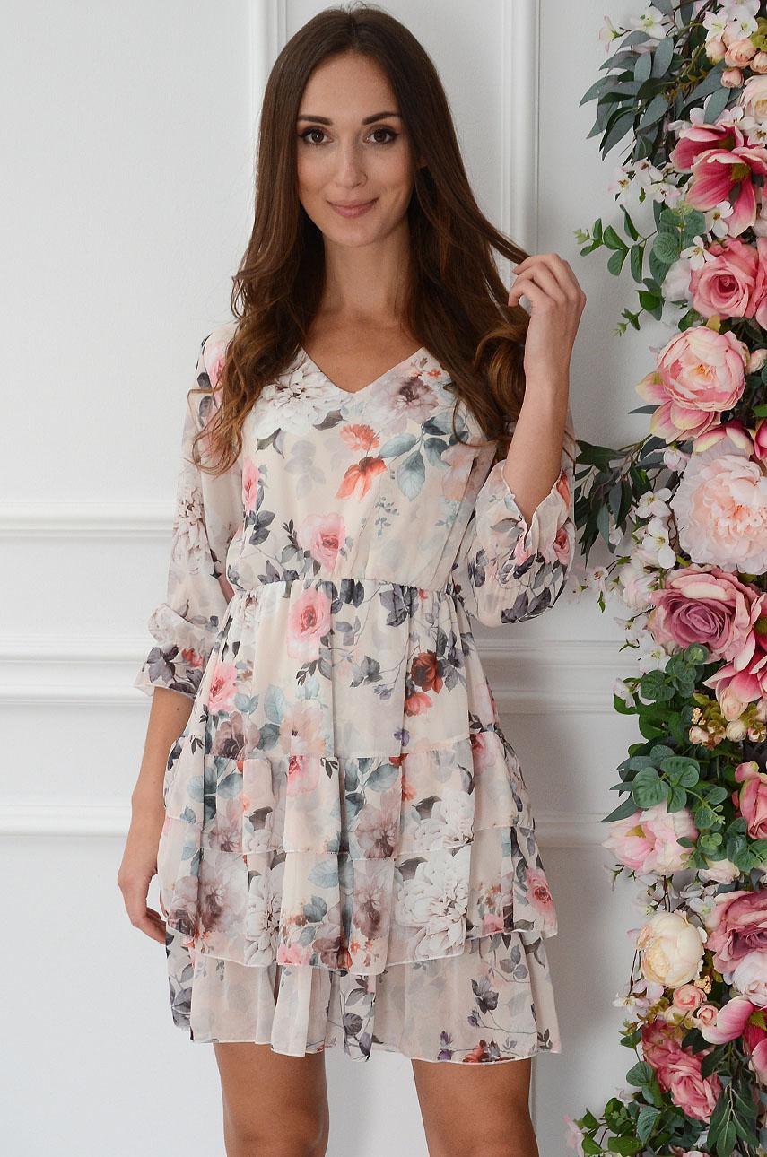 Sukienka szyfonowa z falbankami w róże beżowa Ambra Rozmiar: UNI