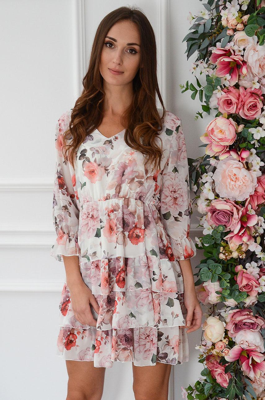 Sukienka szyfonowa z falbankami w róże biała Ambra Rozmiar: UNI