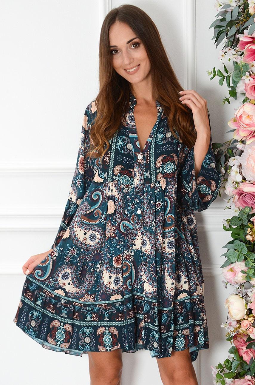 Sukienka oversize na guziki w etno wzory turkus Galina Rozmiar: UNI