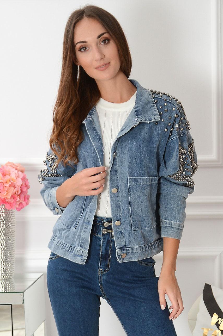 Krótka kurtka jeansowa z futrem gwiazdy Baila Rozmiar: M/L